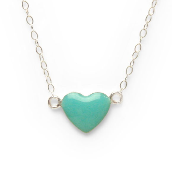 turquoise and sterling silver heart necklace by Kate and Moose