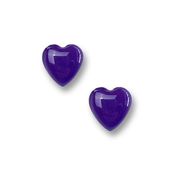 purple resin filled sterling silver heart stud earrings by Kate and Moose