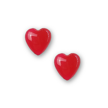 hot pink resin filled sterling silver heart stud earrings by Kate and Moose