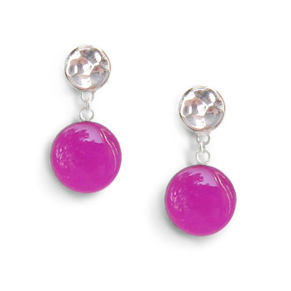 vivid violet hammered sterling silver drop earring by Kate and Moose