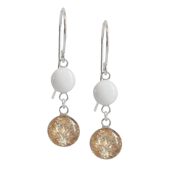 white and gold dangle earrings, white and gold drop earrings