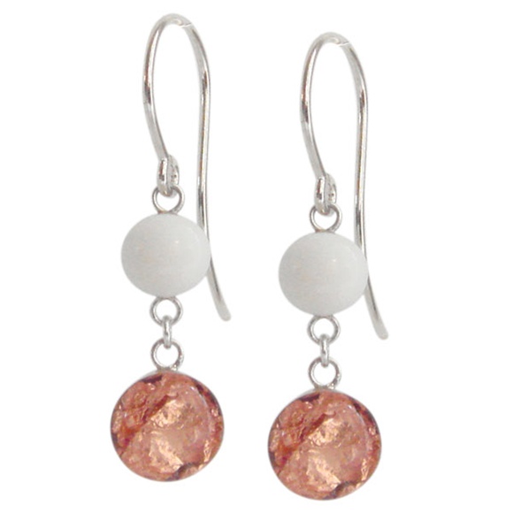 white and rose gold dangle earrings, white and rose gold drop earrings