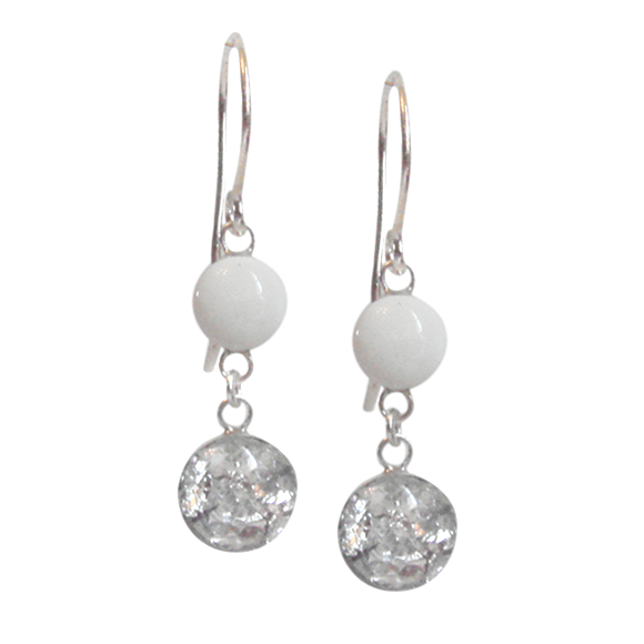 white and silver flake dangle earrings, drop earrings