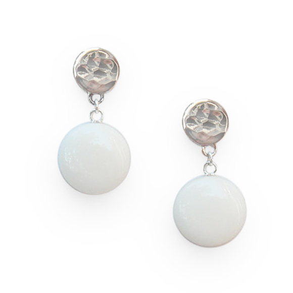 white dangle earrings by Kate and Moose
