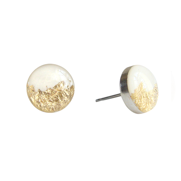 cream and silver medium stud earrings by Kate and Moose