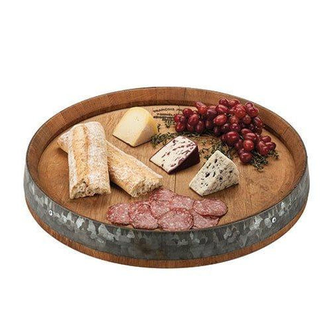 Rustic Lazy Susan Cheese Tray - The casual elegance of your favorite winery with this rustic serving board, made from aged oak barrels, each used in wine production for 2 - 5 years.