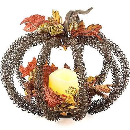 Metal Wire Pumpkin and Candle Centerpiece