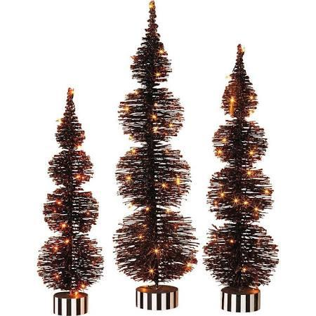 Electric Lighted Halloween Bottle Brush Trees