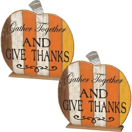 Antiqued Wooden Tabletop Pumpkin (Set of 2)