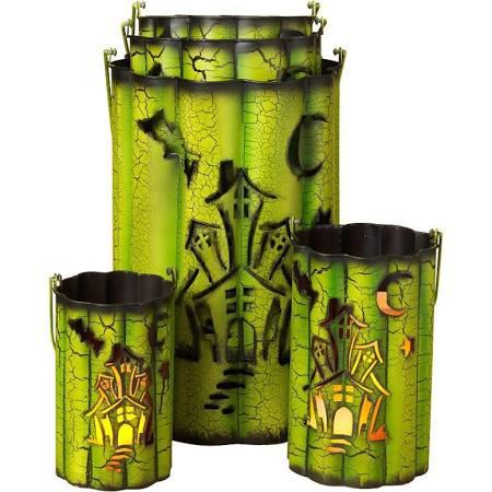 Nested Wavy Metal Haunted House Luminaries (Set of 5)