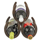 Horseshoe 3 Bottle Metal Bottle Rack