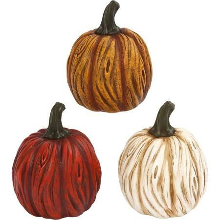 Assorted Colored Resin Pumpkins (Set of 3)