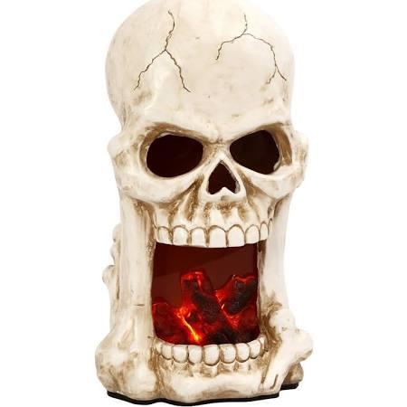 Skull with Moving Fire Effect in Mouth