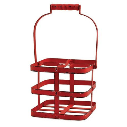 Big Red Metal Four Wine Bottle Carrier