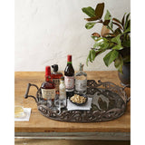 GG Collection Acanthus Oval Antiqued Glass Tray