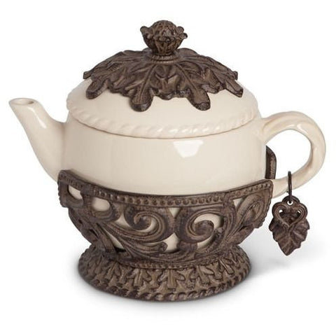 GG Ceramic & Bronze Metal Teapot