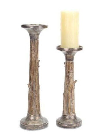 Tree Trunk Candle Holder Set
