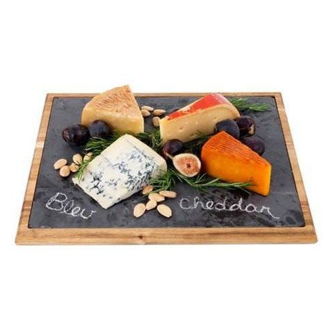 Rustic Farmhouse Large Wood Bound Slate Board - Our gorgeous acacia-bound slate board is perfect for anything from fine cheeses to hors d'oeuvres.