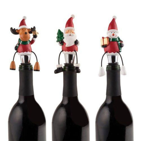 Decorate your wine bottles for the holidays with Rudolph, Santa & Frosty dangly-legged wine bottle stoppers.