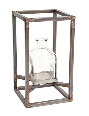 Modern/Contemporary Glass Vase w/Metal Frame