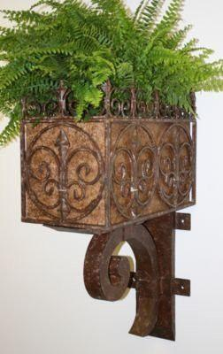 Tuscan Iron and Tole Wall Planter with Fleur-De-Lis Accents