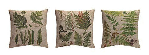 Burlap Fern Throw Pillows