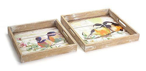 Bird print trays in pastel colors with a worn texture