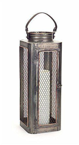 Lantern with metal framing.