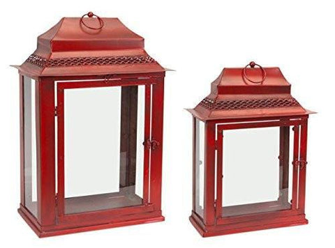 Antiqued Red Metal & Glass Lanterns