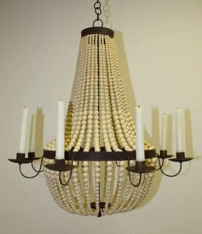 Eight Candle Iron and Creme Bead Candle Chandelier