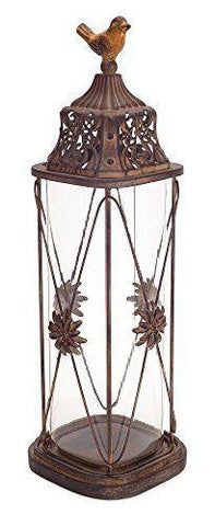 Metal & Glass Candle Holder with Decorative Bird