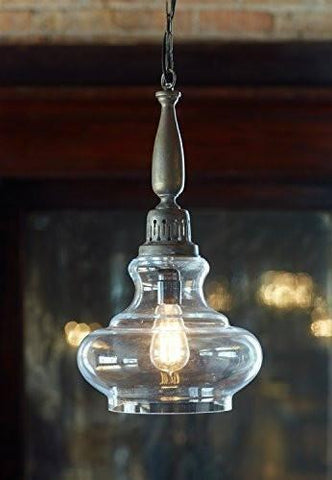 Vintage Antique-style Glass Pendant Light