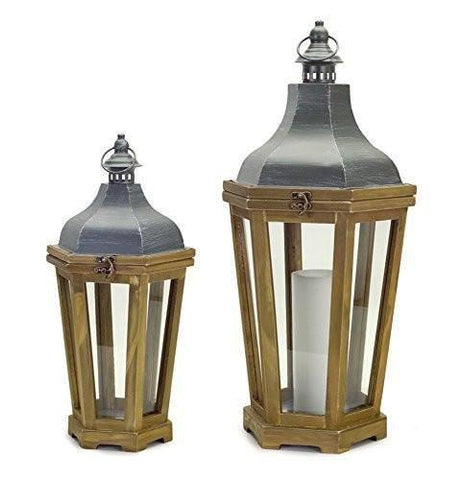 Transitional Wood/Metal Candle Lanterns