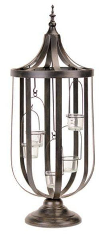 Conical Open Frame Standing Candle Lantern w/Suspended Votives