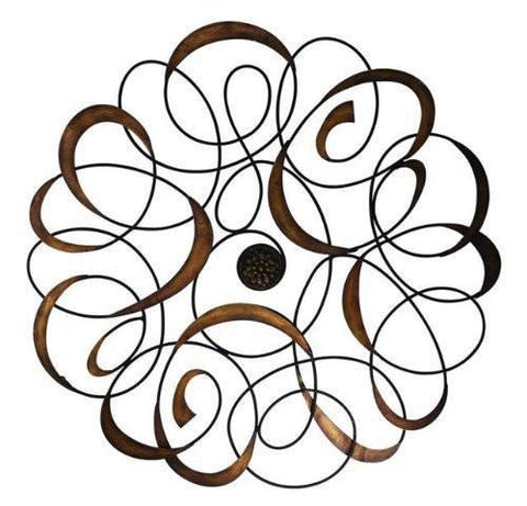 Dark Antique Gold Iron and Tole Swirl Wall Grille with Medallion