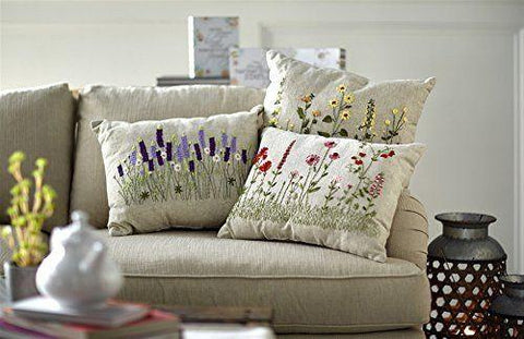 Flower Burlap Throw Pillows