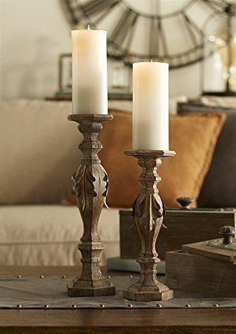 Unique Wood Textured Candle Holders   Set of 2