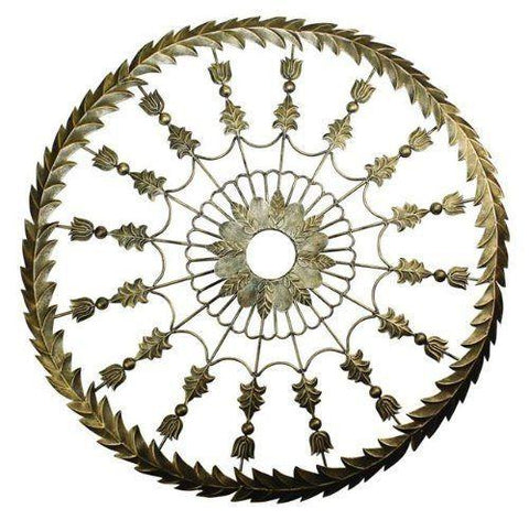 Light Burnished Gold Leaf Accent Ceiling Medallion