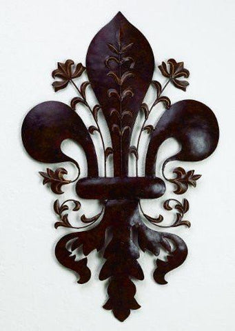 Burnished Green-Brown Tole Fleur de Lis Wall Accent