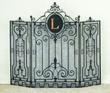 Tuscan Wrought Iron Gate Design Monogrammed Fire Place Screen