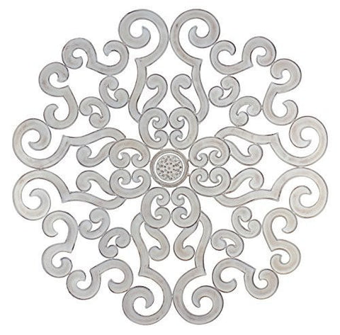 "Antique White 50"" Round Scroll Design Wall Grille"