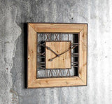 Square Vintage Industrial Style Wood & Metal Wall Clock