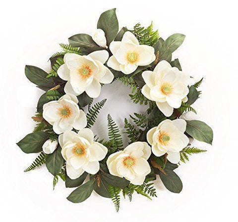 Spring Floral Magnolia Wreath with Mixed Foliage