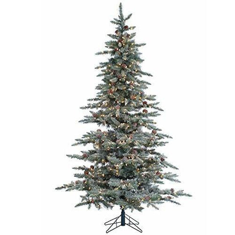 Christmas Lightly Flocked McKinley Pine Pre-Lit Christmas Tree With Pinecones