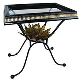 Black Wrought Iron Artichoke Side Table | Ornate Gold Accent Baroque