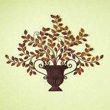 Tuscan Antique Brown Iron and Tole Leaf Urn Wall Plaque