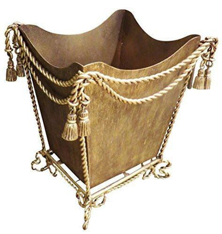 Gold Iron Waste Basket Ornate | Romantic Bathroom Tassel