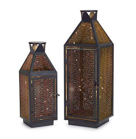 Lantern w/Mirror Glass & Moving Flame Candle