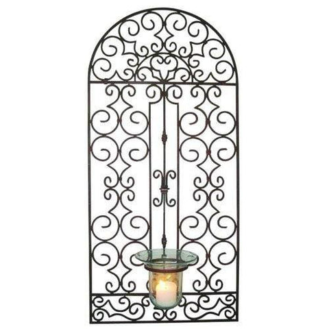 Antique Brown Iron Garden Gate Design Wall Hurricane Holder
