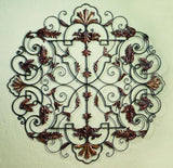 Iron with Tole Leaf Accent Medallion Wall Gril